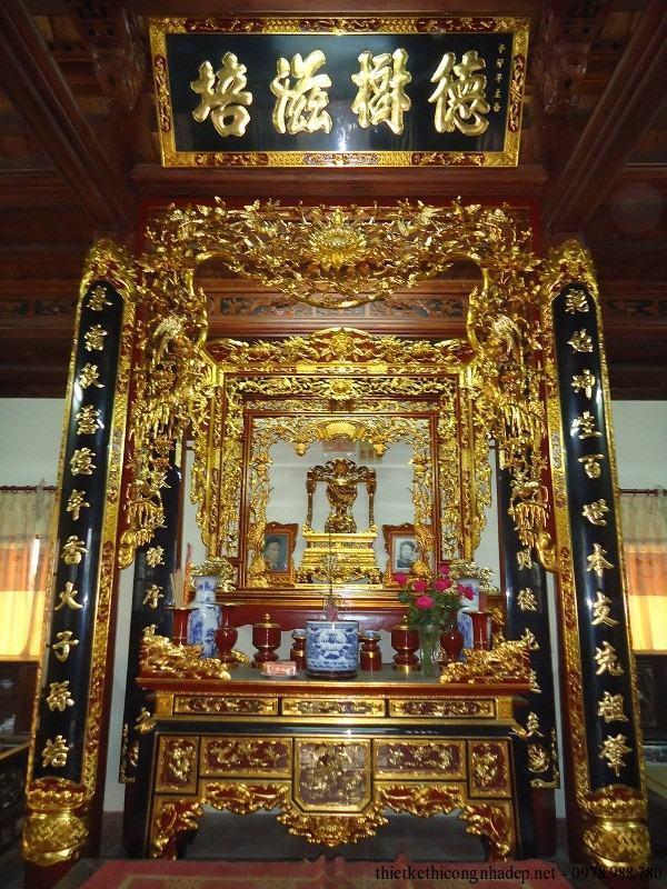 Cách treo hoành phi câu đối thờ trong không gian thờ cúng